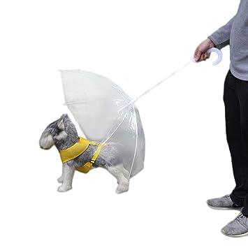 hunpta transparente PET paraguas pequeño perro paraguas lluvia Gear con correas para perros mascota mantiene seco