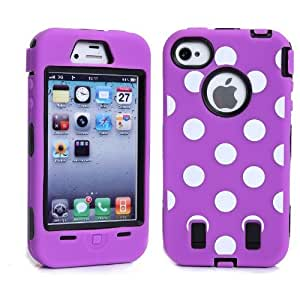 iPhone 4 4s Case,Hybrid Layer Long Lifetime Armor Shockproof Case-White Dots Soft Silicone Defender Back+Front Soft Internal Purple Black Full Body Bumper Box Case Cover For iPhone 4 4S