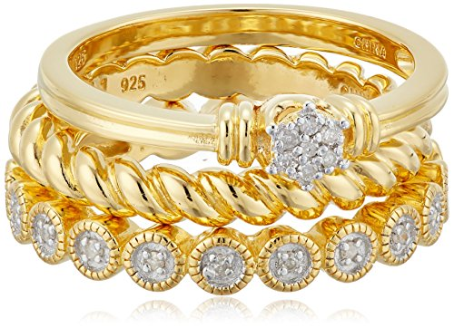 Diamond Stack Ring Set - 18k Gold Plated Sterling Silver Diamond Stacking Ring Set (1/10cttw, I-J Color, I2-I3 Clarity)