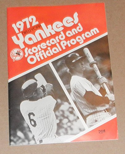 Ruth Glove Baseball Vintage Babe - NEW YORK YANKEES 1972 VINTAGE OFFICIAL SCORECARD PROGRAM GUIDE MURCER WHITE NY
