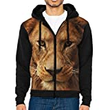 Men's Casual Garb Hoodies,Africa Lion Face Full Front Zipper Hooded Long Sleeve