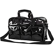 Kemier Clear Travel Makeup Bag with 6 External Pockets,Cosmetic Organizer Case with Shoulder Strap,Large Black