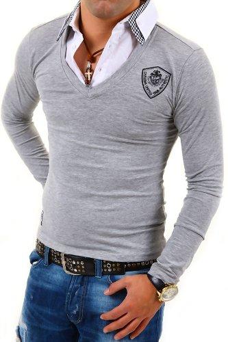 pull chemise homme 2 en 1 acheter pas cher homme pull class pull chemise col v effet 2 en 1 aubergin. Black Bedroom Furniture Sets. Home Design Ideas