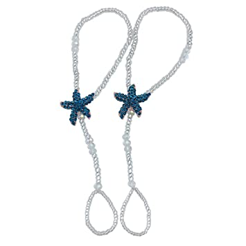 a027b7c7a8d Amazon.com  Fine Lady Something Blue Rhinestone Starfish Pearl Foot Jewelry  Crystal Silver Bridal Barefoot Sandal Beach Wedding Ideas-ONE PAIR  Fine  Lady  ...