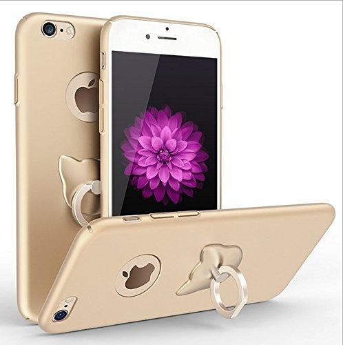 Funda iPhone 7 ,Vanki® Ultra Slim Anti-Rasguño y Resistente Huellas Dactilares Todo incluido Caso de Plástico Duro Cover Case con Kickstand 360 Degree Anillo Giratorio Oro