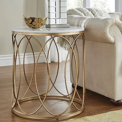 Amazon Com Round End Table With Storage Area Side Table