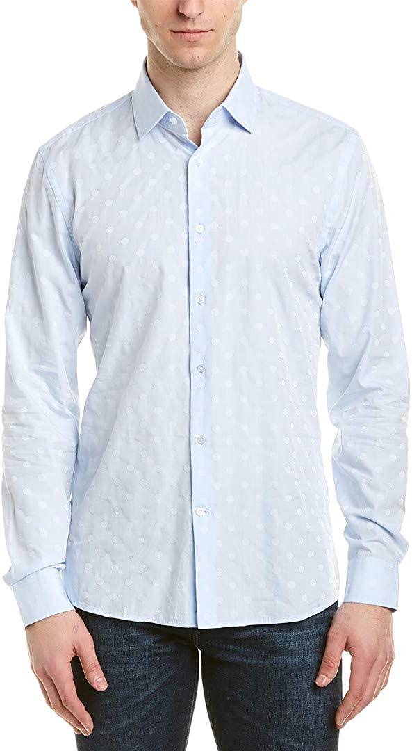 Reiss Mens Gilespie Slim Fit Woven Shirt L Blue