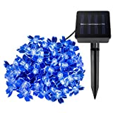LE Solar Fairy Lights, 23ft, Waterproof, 50 LEDs, 1.2 V, Blue, Portable, with Light Sensor, Outdoor Blossom String Lights, Ideal for Christmas, Wedding, Party