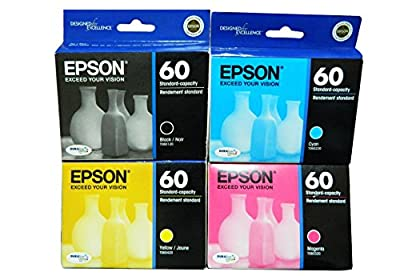 One-set of Genuine Epson 60 Ink Cartridges for Epson Cx3800 Cx3810 Cx4200 Cx4800 Cx5800f Cx7800 Stylus C68 Stylus C88 and Stylus C88+ Printers
