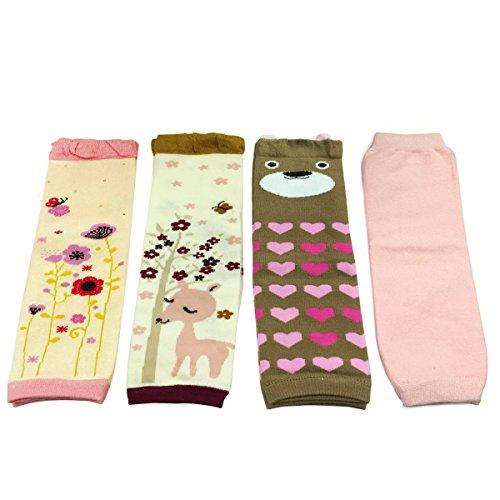 (Allydrew Footless Leg Warmers Footless Leggings for Babies and Toddlers - Flora, Deer, Brown Bear, Solid Pink (4 pack) )