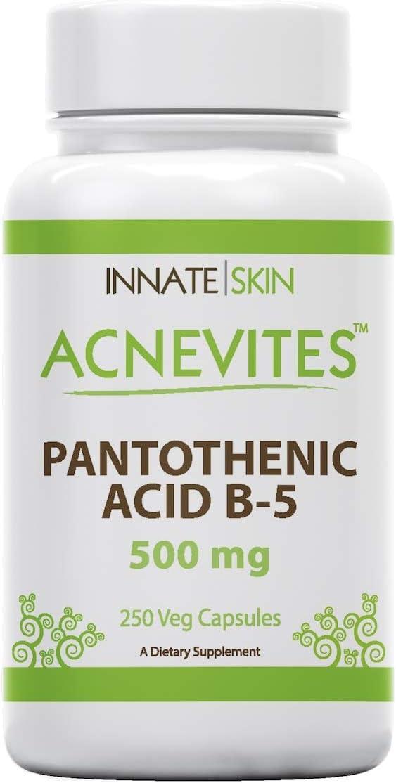 Acnevites Pantothenic Acid 500MG Vitamin B-5 250 Caps for Skin, Hair, Nails