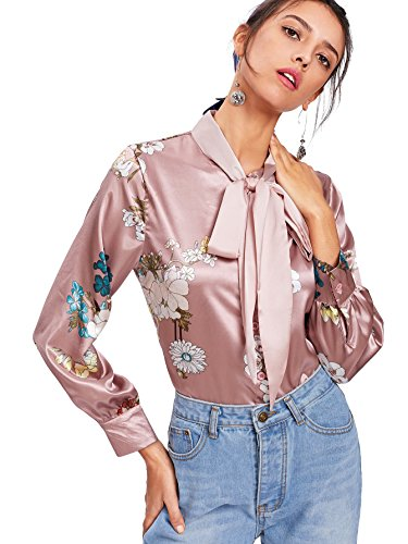 Floerns Women's Long Sleeve Floral Print Tie Bow Neck Blouses Pink L