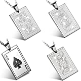 Flongo Men's Punk Rock Stainless Steel Playing Card Poker Tag Pendant Necklace, 22 inch Chain