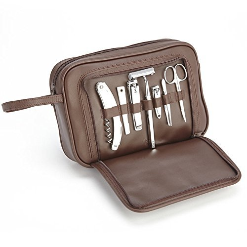 Royce Leather Toiletry Travel Grooming and Shave Kit with Stainless Steel Implements, Brown ()
