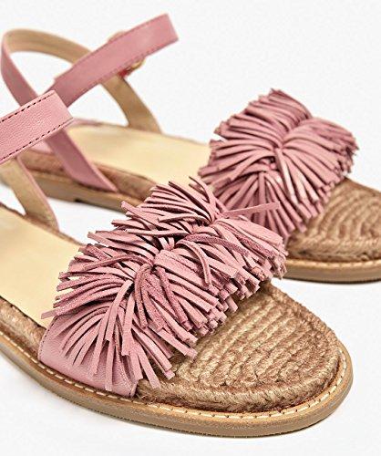 Sandals Women Shoes Flats Leather Beach Pink Tassels Strap Honeystore for Flats Fringed C70q6wxxg