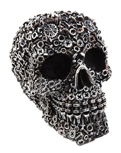 Ebros Junkyard Mechanic Gears Nuts Bolts and Screws Hardware Skull Decorative Figurine 6.25