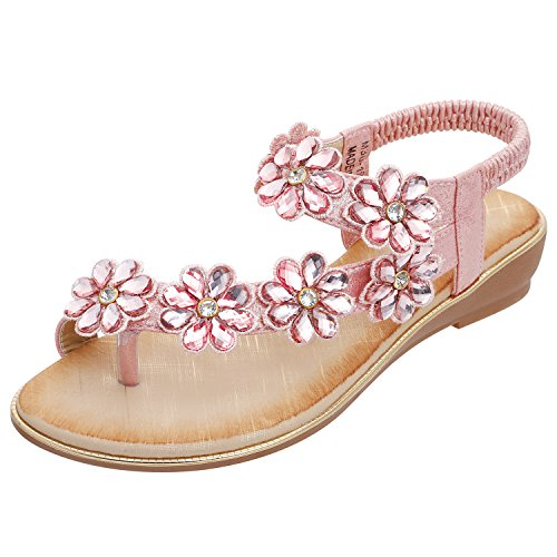 ZOEREA Women's Sandals Elastic Sparkle Bohemian Flip Flops Summer Beach Thong Flat Shoes