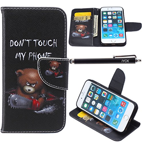 iPhone 6S Plus Case, iPhone 6 Plus Case Wallet, iYCK Premium PU Leather Flip Carrying Magnetic Closure Protective Shell Wallet Case Cover for iPhone 6/6S 5.5 with Kickstand Stand - Electric Saw Bear