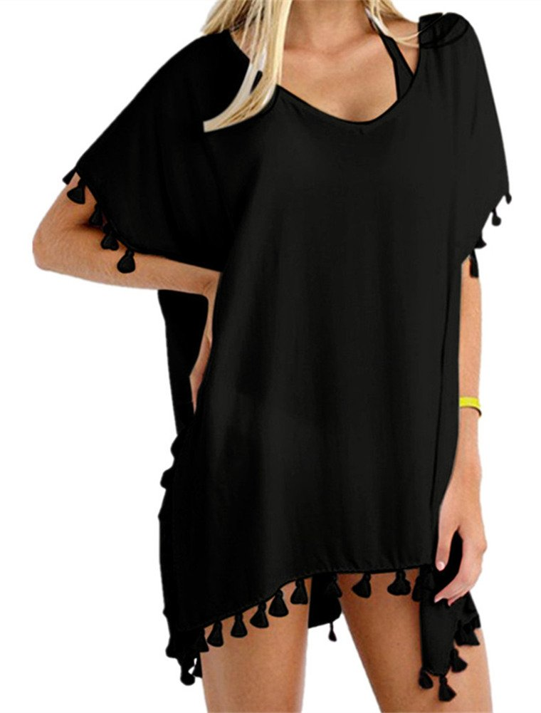 Yincro Womens Swimsuit Cover Ups Beach Bikini Bathing Suit Cover Up (Size A(Free Size, Fit US S-M), Black)