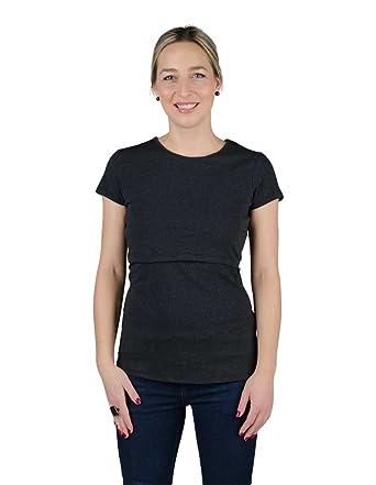 4b443754dbc Momzelle Women's Breastfeeding Charlotte Nursing T-Shirt (XtraSmall, Dark  Heather Grey)
