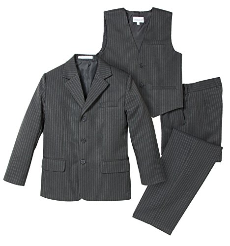 ys' 3 Piece Pinstripe Suit Set 10 Medium Grey (Grey Stripe 3 Button Suit)