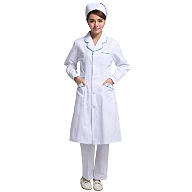 ESENHUANG Ropa del Doctor Hombres Mujeres Manga Larga Uniforme Médico Hospital Doctor Clínica Dental Salón De Belleza Diseño De Moda Batas De Laboratorio: ...