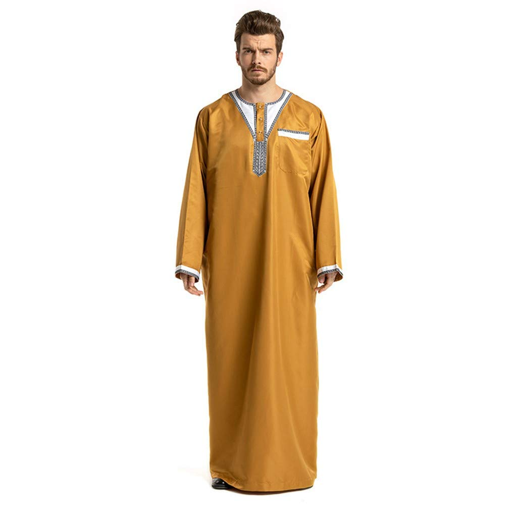 Men Classic Ethnic Style Robes Basic Pure Color Casual Loose Fit Long Sleeve Muslim Middle East Maxi Dress Abaya Kaftan (M, Yellow)