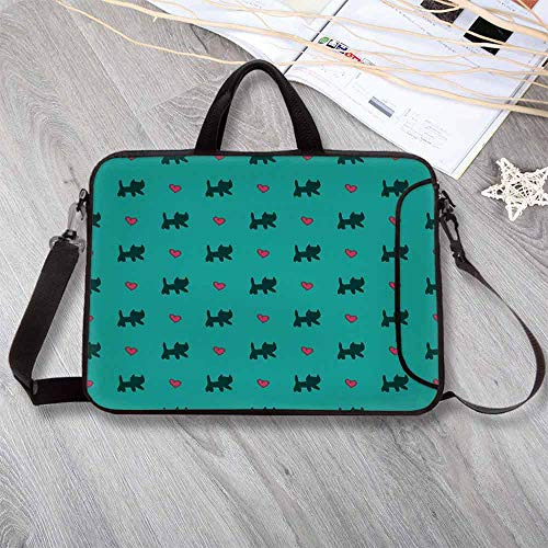 """Teal Neoprene Laptop Bag,Cute Kittens Pink Hearts Lovely Animal Design with Valentines Inspirations Decorative Laptop Bag for Office Worker Students,15.4""""L x 11""""W x 0.8""""H"""