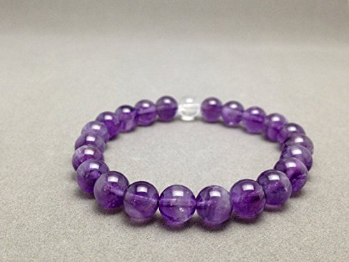 - JP_Beads Amethyst Clear Quartz Stretch Bead Bracelet for Crown Chakra Metaphysical Healing and Attuning to St. Germaine's Violet Flame 8mm