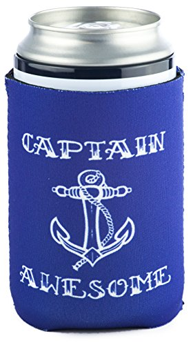 Funny Guy Mugs Captain Awesome Collapsible Neoprene Can Coolie - Ship's Wheel on Bottom |