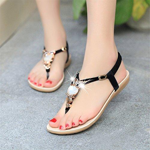 causale Donna solide UK4 scarpe da Calzature EU36 Donne moda estate donna CN36 US6 Donna sandali piana da Sandali Infradito BxPHqPYAn