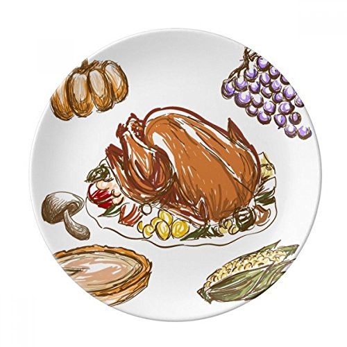 Turkey Grape Thanksgiving Day Pattern Dessert Plate Decorative Porcelain 8 inch Dinner Home
