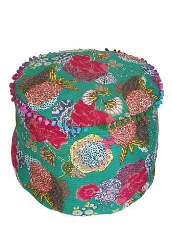 Decorative Fruit Printed Quilted Ottoman Patchwork Footstool 20 By 14 Inches