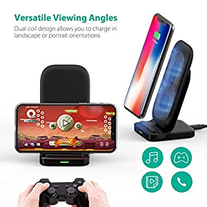 Wireless Charging Stand RAVPower 2 Coils 7.5W Fast Wireless Charger for iPhone X, 8 & 8 Plus with HyperAir Technology, 10W Qi for Galaxy S9, S9+, S8 & Note 8 and All Qi-Enabled Devices
