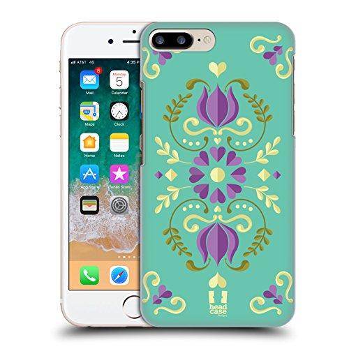 Head Case Designs Teal Norwegian Rosemåling Hard Back Case for Apple iPhone 7 Plus/8 - Rosemaling Design