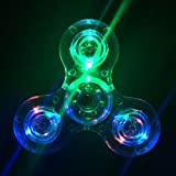 Wooce Crystal Clear LED Light Fidget Spinner -High Speed Hand Spinner Tri-Spinner for Kids Adults EDC ADHD Focus Anxiety Relief Toys