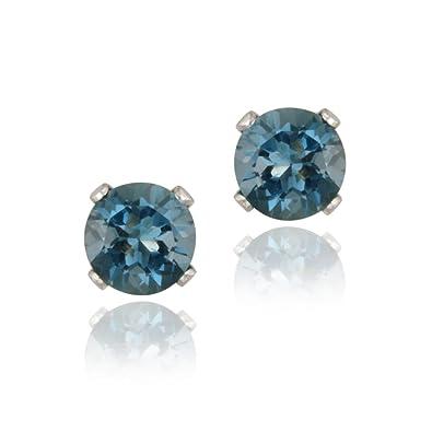 14k White Gold 1 1ct London Blue Topaz Stud Earrings 5mm Amazon Co