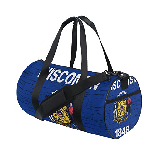 Reef License Plate - Distressed Wisconsin State Flag Travel Duffel Shoulder Bag ,Sports Gym Fitness Bags