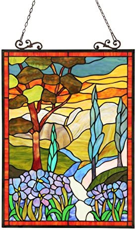 Chloe 18X24 ALMOS, Tiffany-Glass Floral Window Panel, One Size 18 x 24