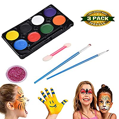 Face Painting Makeup, Face Painting Kit Costume Makeup Kit for Halloween Easter Theme Parties Cosplay Stage Performance, 8 Colors + Glitter + 2 Brush Set