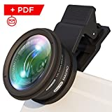 Phone Camera Lens Kit: Ultra Wide Angle Lens w/ Macro Lens and UV Filter. For Photo and Video. Fits the Latest Samsung, iPhone, Huawai (Most of Smartphones) + Bonus: Shooting Guide Reviews