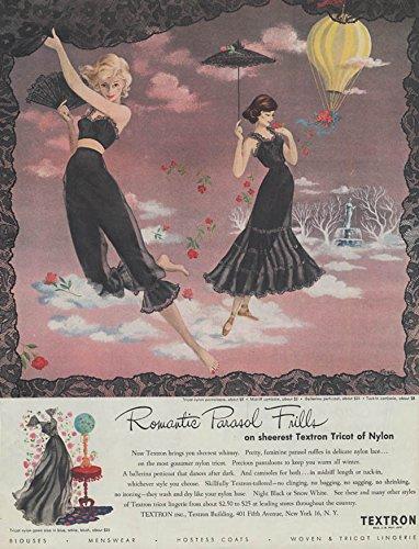 romatic-parasol-frills-black-pantaloons-bra-camisole-petticoat-textron-ad-1948