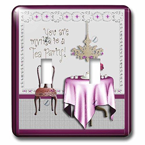 3dRose lsp_23878_2 Tea Party Invitation Tea Party Room Pi...