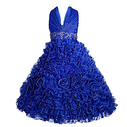 Embossed Dress Form - Dressy Daisy Girls' Beaded Halter Embossed Flower Pageant Dresses Wedding Party Dress Size 8-9 Royal Blue