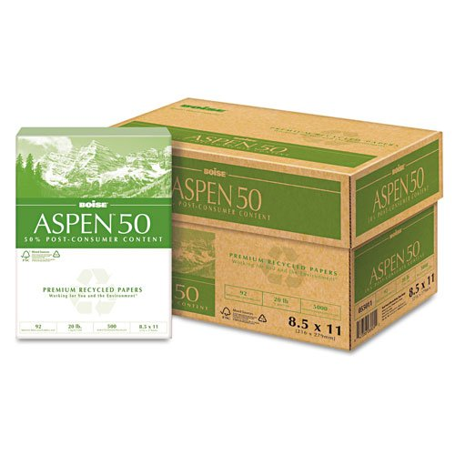 Boise : ASPEN 50 Recycled Copy/Laser Paper, 92 Brightness, 20lb, Letter, 5,000 Sheet/Ctn -:- Sold as 2 Packs of - 10 - / - Total of 20 Each by Boise