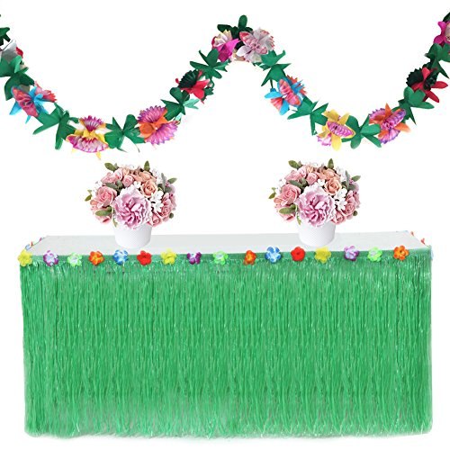 cheerfullus Hawaiian Party Decorative Table Grass Skirt with 3 Meters Garland and Hook Loop - (Green Raffia Grass)