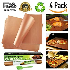 AltoFresh Large Copper Grill & Bake Mats with Silicone Oil Brush Set of 4 | Best Non-stick, Easy to Clean, Reusable Grill Mats | Great for BBQ Grilling & Baking on Gas, Electric, and Charcoal Grill