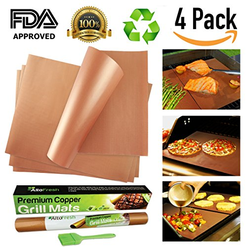 AltoFresh Copper Grill & Bake Mats with Silicone Oil Brush Set of 4 | Best Non-stick, Easy to Clean, Reusable Grill Mats | Great for BBQ Grilling & Baking on Gas, Electric, and Charcoal Grills