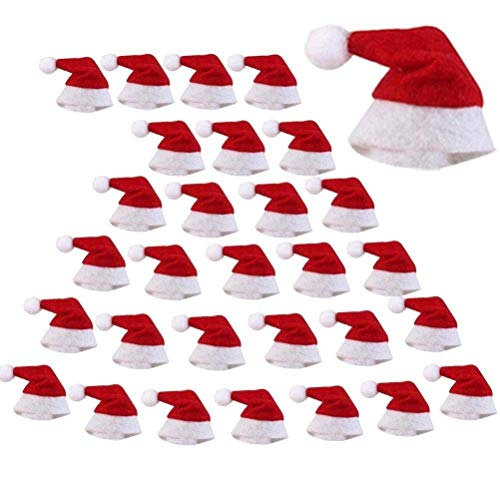 (WarmShine 30 Pack Mini Christmas Hats Mini Christmas Santa Bottle Hats Christmas Lollipop Candy Cover Hat Holiday Party Supplies, 2.36x1.0Inch)