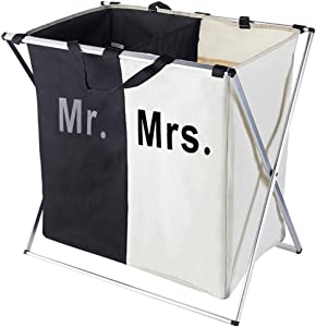 140L Laundry Hamper Cloth Sorter Basket Bin Foldable 2 Sections with Aluminum Frame 26''×24''H Washing Storage Dirty Clothes Bag for Bathroom Bedroom Home (3 Liner)